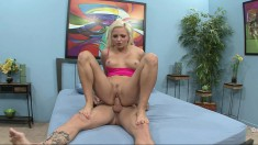 Delightful blonde with superb footjob skills gets fucked deep and hard