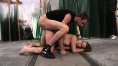 Kinky brunette Gabrielle loves to get her ass drilled deep and rough