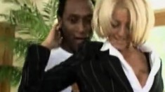 Gorgeous blonde realtor in lingerie gets pounded by a black stallion
