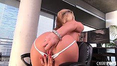 Dazzling blonde with tiny tits Tanner Mayes takes a solo journey to satisfy her desires