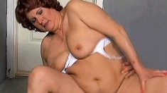 Chunky redhead lady loves to work her juicy snatch on a throbbing dick