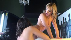 Blonde and brunette lesbians relishing the taste of each other's twats