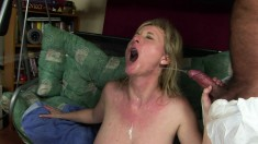 Nasty blonde mom with big natural hooters gets fucked hard by two guys