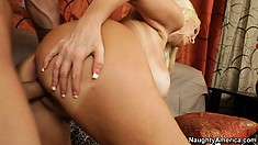 Brittany gets her trimmed bush eaten out and then gets nailed doggy