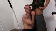 Two hot military hunks exploring their wild anal fantasies in the gym