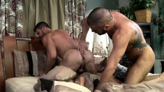 Naughty guy invites a tattooed stud to fuck his hungry ass on the bed