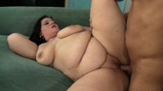 Luscious brunette plumper is always eager to please a throbbing dick