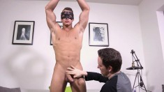 Handsome boy Philippe has a kinky guy jerking off his throbbing stick