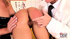 Nasty doctor examines his patient with his naughty nurse and spanks her