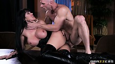 The dazzling brunette with curvy ass and perfect tits loves to suck and ride cock