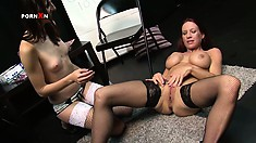 Lesbian redhead addicted to hardcore sex treatments gets pussy gaped