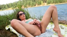 Outdoor Masturbation For Hot Brunette