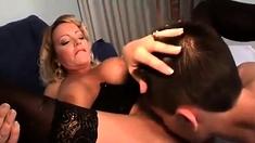 Sexy big boobs white girl gives a pov blowjob
