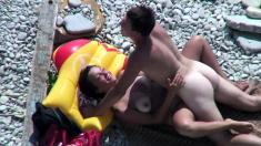 Shaved pussy nudist milfs beach voyeur HD video