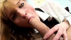 Cute schoolgirl Nadine gets her wet pussy and her tight ass drilled deep and rough
