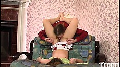 Mike licks and sucks Sophia's sexy feet and gets a footjob before fucking her
