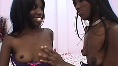 Naughty black lesbians work their tongues and hands all over