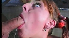 Oiled up tramp with a petite pussy gets banged in a dark alley