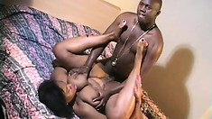 Ebony plumper with huge tits eats his black rod and gets hammered