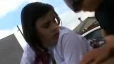 Sensual wet blowjob from teen brunette outdoor