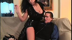 Horny brunette MILF gets down to play with Kyle Stone's cock