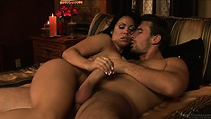 She gives her man a stroking as a reward for fucking her cunt