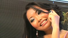 Sexy Asian Lana Croft wet her whistle with his juicy wanker then rides it